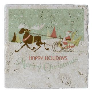 サンタ及びトナカイとのメリークリスマス トリベット