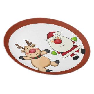 サンタ及びトナカイのクリスマスの休日 プレート