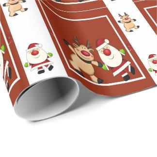 サンタ及びトナカイのクリスマスの休日 ラッピングペーパー