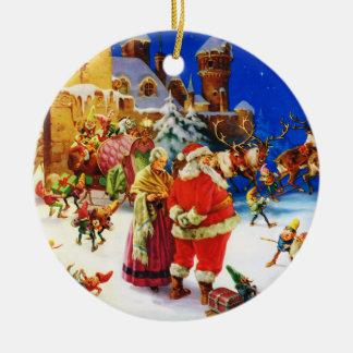 サンタ及び夫人クロース北極クリスマスイブ セラミックオーナメント