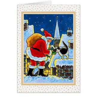 サンタ及び子猫猫のクリスマスNotecard カード