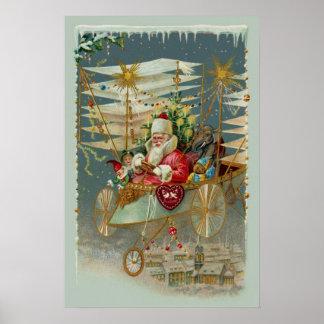 サンタ及び彼のすばらしい航空機ポスター ポスター