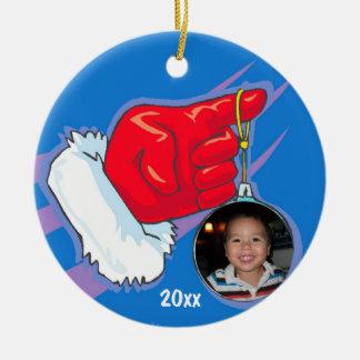 サンタ手の写真フレームの記念品のオーナメント セラミックオーナメント