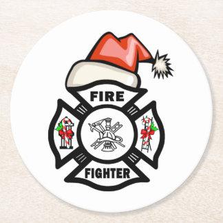 サンタ消防士 ラウンドペーパーコースター