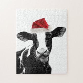 サンタ牛-ホルスタイン酪農場のクリスマス牛 ジグソーパズル