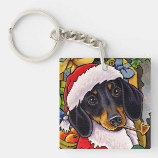 サンタ犬のダックスフントのクリスマスの正方形Keychain キーホルダー