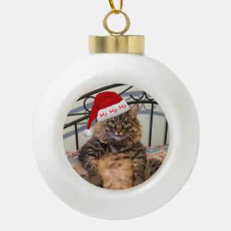 サンタ猫のクリスマスのオーナメント セラミックボールオーナメント