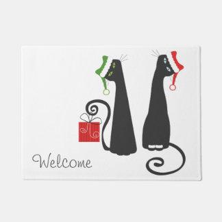 サンタ猫のクリスマスのドア・マット ドアマット