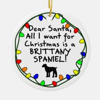 サンタ親愛なブリッタニーのスパニエル犬 セラミックオーナメント