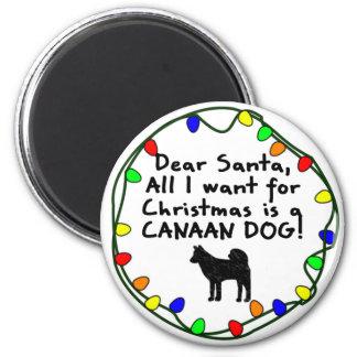 サンタ親愛なCanaan犬 冷蔵庫用マグネット
