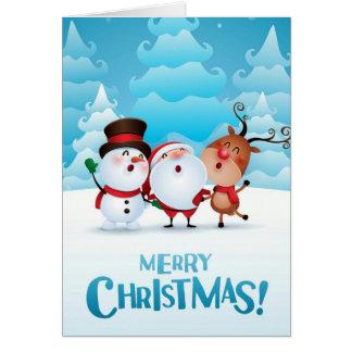 サンタ、雪だるまおよびトナカイが付いているクリスマスカード カード