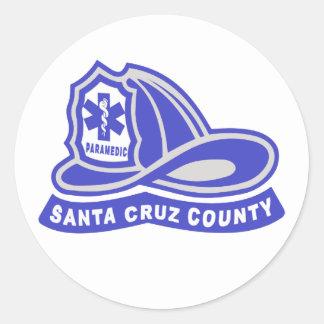 サンタ|Cruz|郡|救急医療隊員|ヘルメット|ロゴ 丸型シール