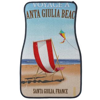 サンタGiuliaのビーチのヴィンテージのフランス人旅行ポスター カーマット