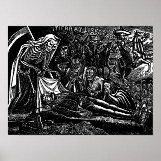 サンタMuerteおよび兵士c. 1951年のメキシコ ポスター