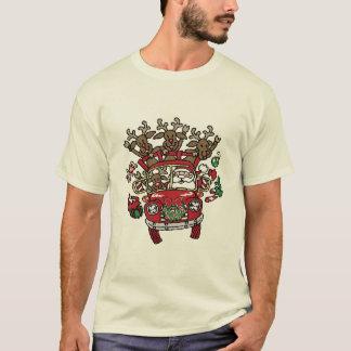 サンタWoodyおよび彼のトナカイのクリスマスの漫画 Tシャツ