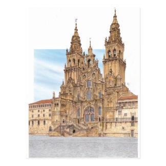 サンティアゴ・デ・コンポステーラ。 西部のfaçade。 スペイン ポストカード