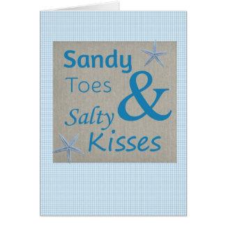 サンディのつま先および塩辛いキスのビーチの生命引用文 カード