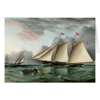 サンディのホックの灯台を離れたスクーナー船のモホーク語 カード
