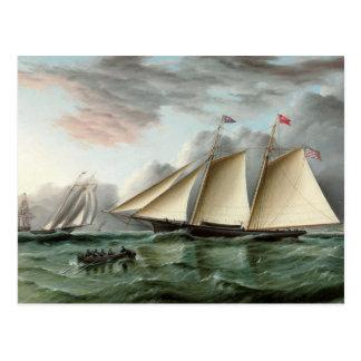 サンディのホックの灯台を離れたスクーナー船のモホーク語 ポストカード