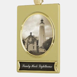 サンディのホックの灯台 ゴールドプレートバナーオーナメント