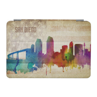 サンディエゴのカリフォルニア|の水彩画都市スカイライン iPad MINIカバー