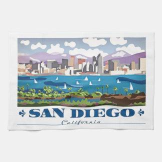 サンディエゴのスカイライン キッチンタオル