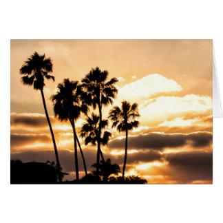 サンディエゴの日没のシルエット カード