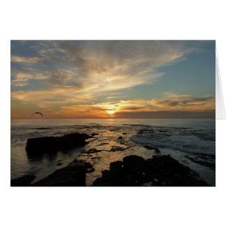 サンディエゴの日没Iカリフォルニアの海景 カード