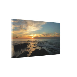 サンディエゴの日没Iカリフォルニアの海景 キャンバスプリント