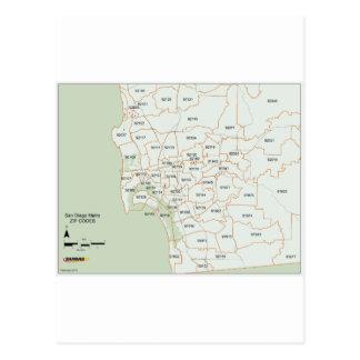 サンディエゴの郵便番号地図 ポストカード