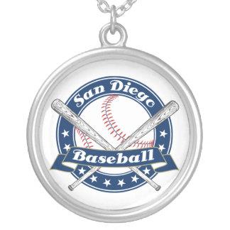 サンディエゴの野球のロゴ シルバープレートネックレス