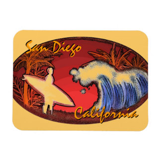サンディエゴカリフォルニアのサーファーの芸術の長方形の磁石 マグネット
