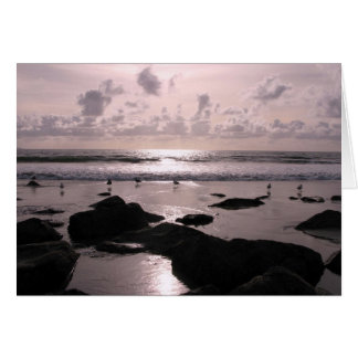 サンディエゴカリフォルニアのビーチの日没 カード