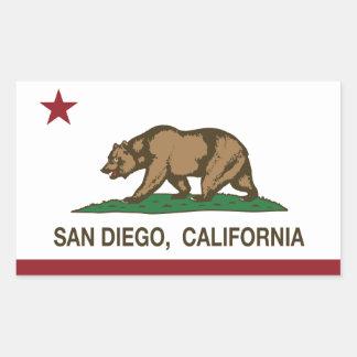 サンディエゴカリフォルニアの州の旗 長方形シール