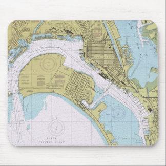サンディエゴカリフォルニア航海のな港の図表のmousepad マウスパッド
