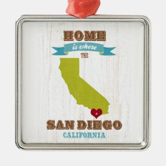 サンディエゴ、カリフォルニアの地図-ところに聴取はです家 メタルオーナメント