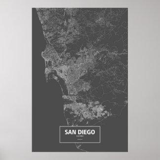 サンディエゴ、カリフォルニア(黒で白い) ポスター