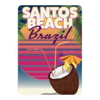 サントスのビーチのブラジルのヴィンテージ旅行ポスター カード