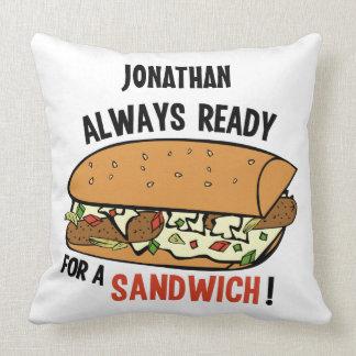サンドイッチ名前をカスタムするの装飾用クッション クッション