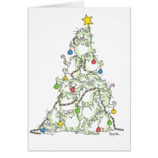 サンドラBoynton著猫ちゃんカードのクリスマスツリー カード