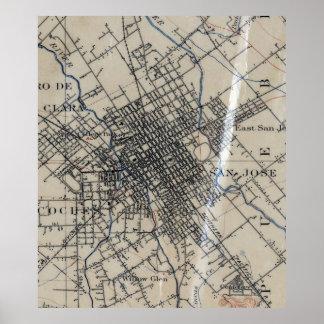 サンノゼカリフォルニア(1895年)のヴィンテージの地図 ポスター