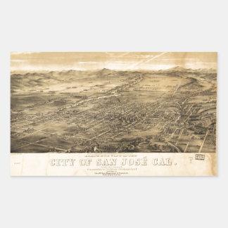 サンノゼ、カリフォルニア(1869年)の鳥瞰的な眺め 長方形シール