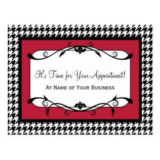 サンバの赤く千鳥格子のなアポイントメントのメモ ポストカード