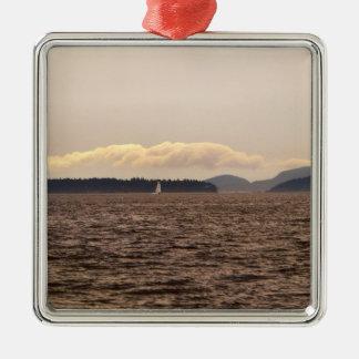 サンファン島の帆 シルバーカラー正方形オーナメント