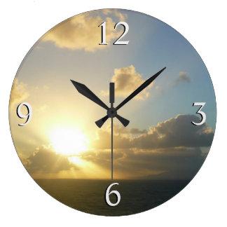 サンファンIIプエルトリコ上の日の出 ラージ壁時計
