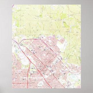 サンフェルナンドカリフォルニア(1966年)のヴィンテージの地図 ポスター