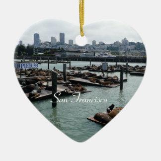 サンフランシスコおよび桟橋39のアシカ都市スカイライン セラミックオーナメント
