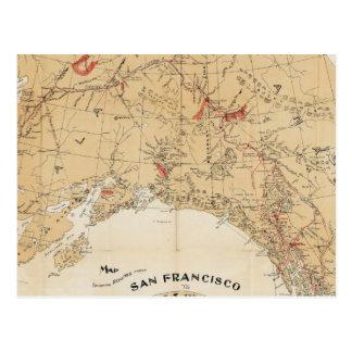 サンフランシスコからのアラスカへの地図の提示ルート ポストカード