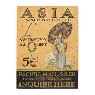 サンフランシスコからの東洋へのホノルルを経てアジア ウッドウォールアート