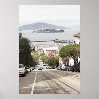 サンフランシスコから見られるAlcatrazの刑務所 ポスター